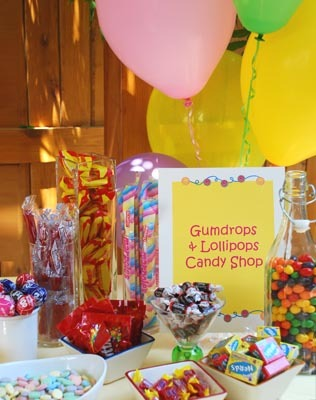 candy themed kids party activities candy shop gumdrops lollipops