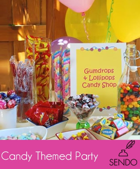 candy themed kids party for summer spring birthday team party