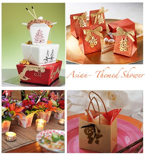 Asian inspired baby shower ideas, decorations, cake, favors