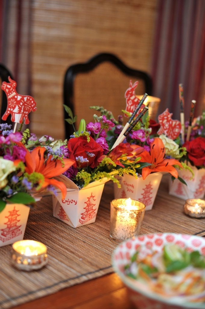 asian inspired baby shower tablescape chinese food boxes flowers