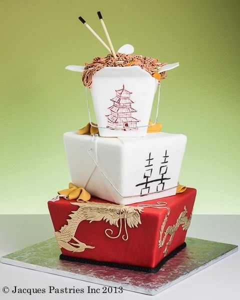 chinese takeout cake, asian theme baby shower, party