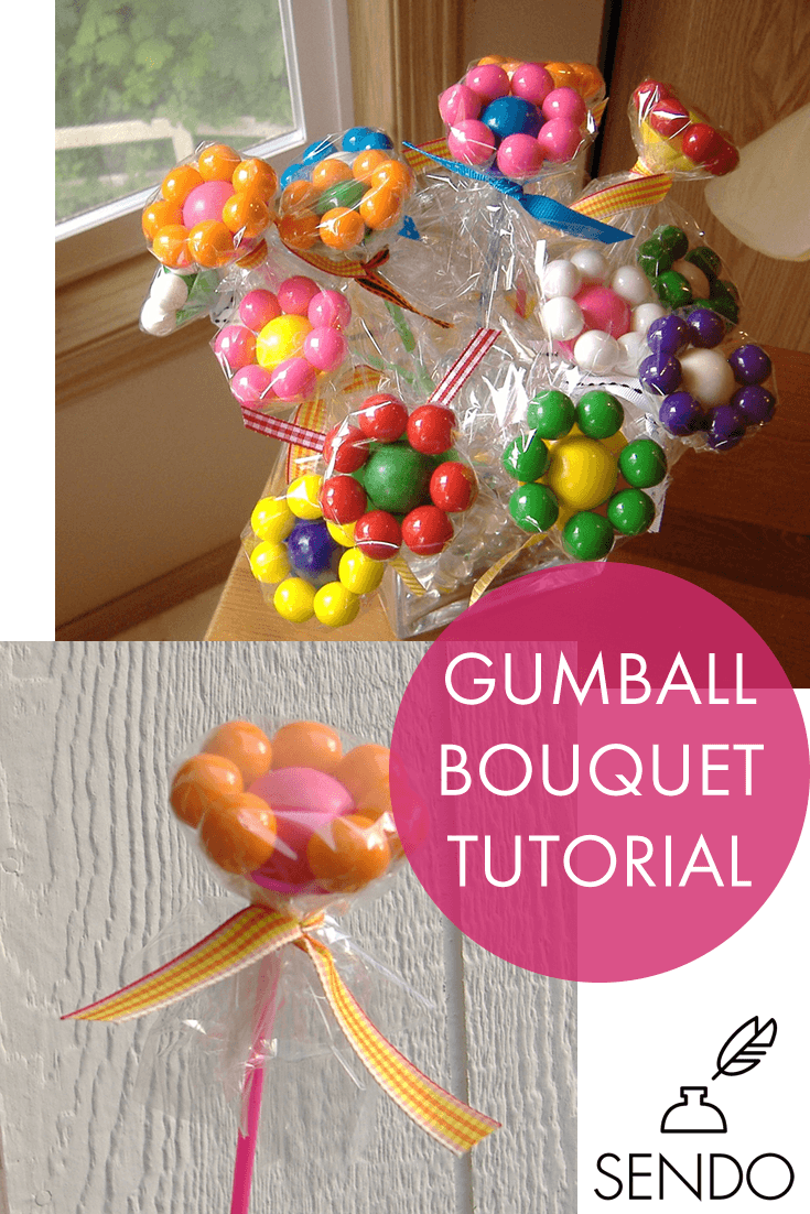 Gumball Bouquet Flower Tutorial, creative, fun, colorful gift idea