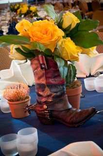 western themed events cowboy boot flowers roses vase ideas inspiration