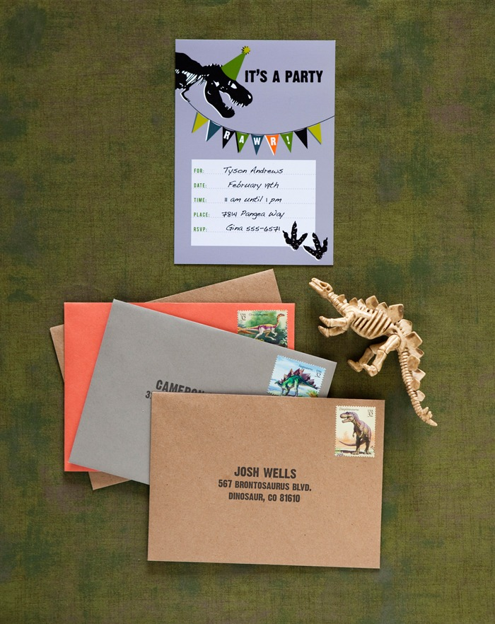 dinosaur party for boys birthday invitations