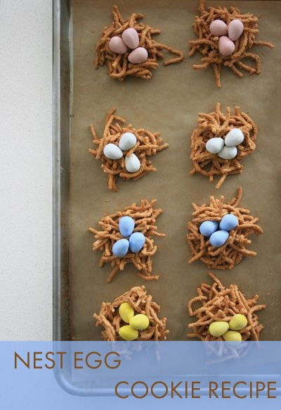 nest egg cookies recipe, easter cookies, birds eggs, chow mein noodles, chocolate