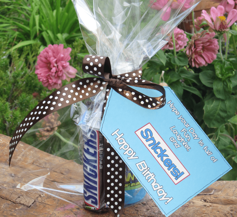 Printable candy gift tags for birthday gift treat snickers