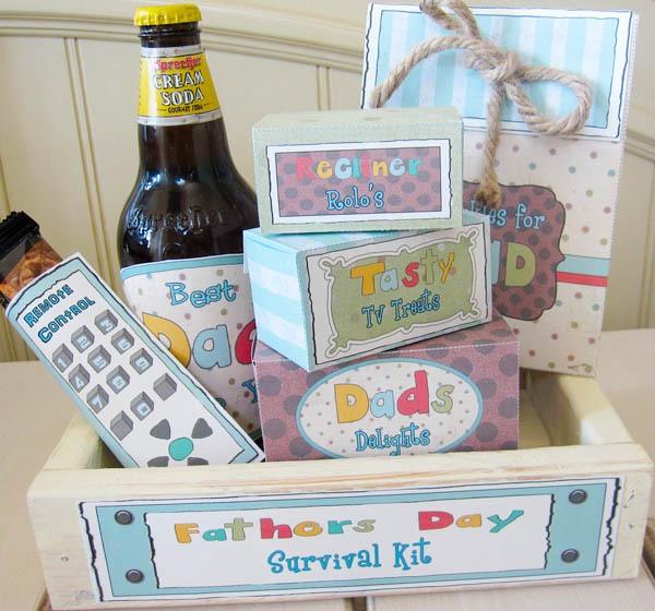 homemade Father's day survival kit DIY gift printables gift basket