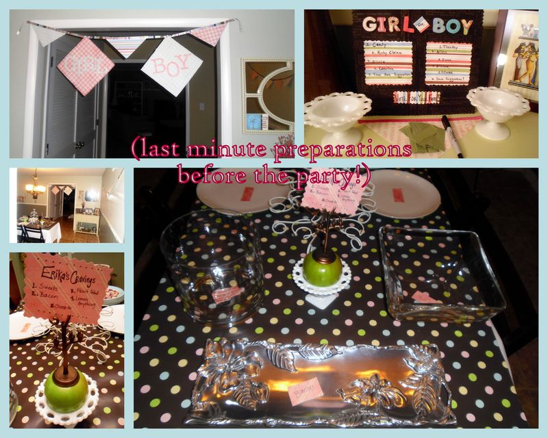 DIY baby gender reveal party brown green polka dots