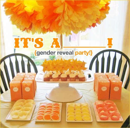 DIY baby gender reveal party orange yellow