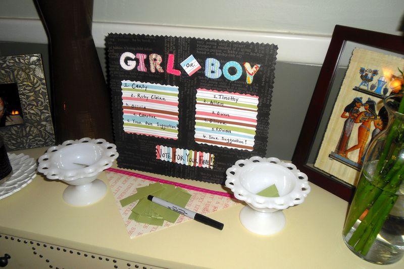DIY baby gender reveal party votes