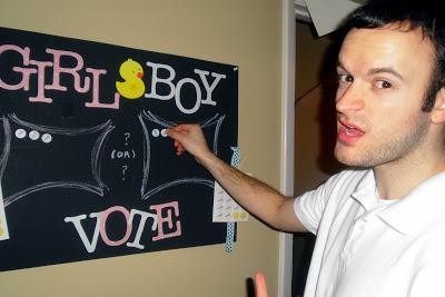 DIY baby gender reveal party voting