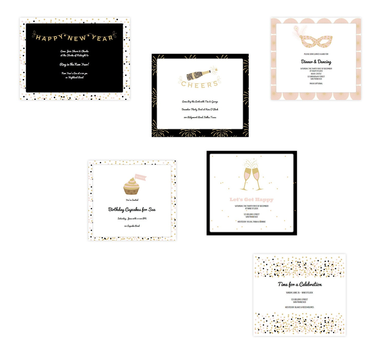 Confetti & Celebration Invitation Series