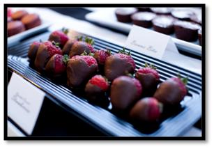 chanel party theme dessert bar chocolate covered strawberries