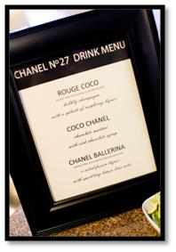 chanel party theme drink menu cocktails