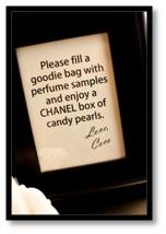 chanel party theme favors beauty samples candy pearls