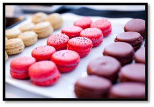 chanel party theme dessert bar maccaroons