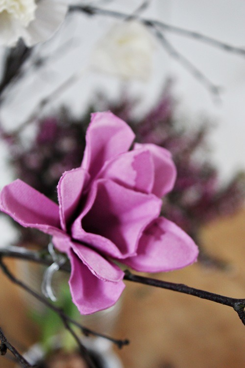 purple egg carton flower diy tutorial