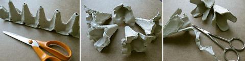 egg carton flower fairy lights diy tutorial cut up scissors