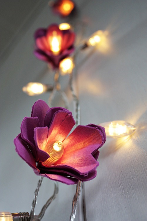 Strung lights with flower fairy diy egg carton tutorial flowers attached