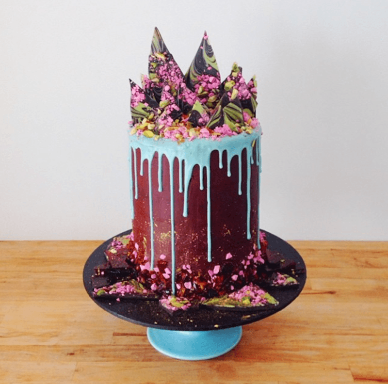 katherine sabbath, amazing cake, deep purple, blue, pink