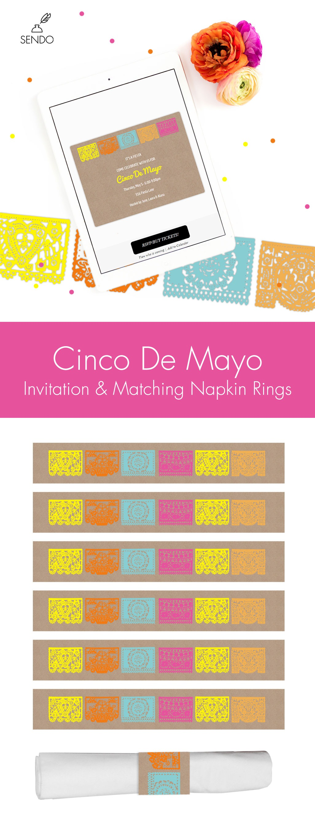 Cinco De Mayo Party Invitation & Napkin Ring Printable