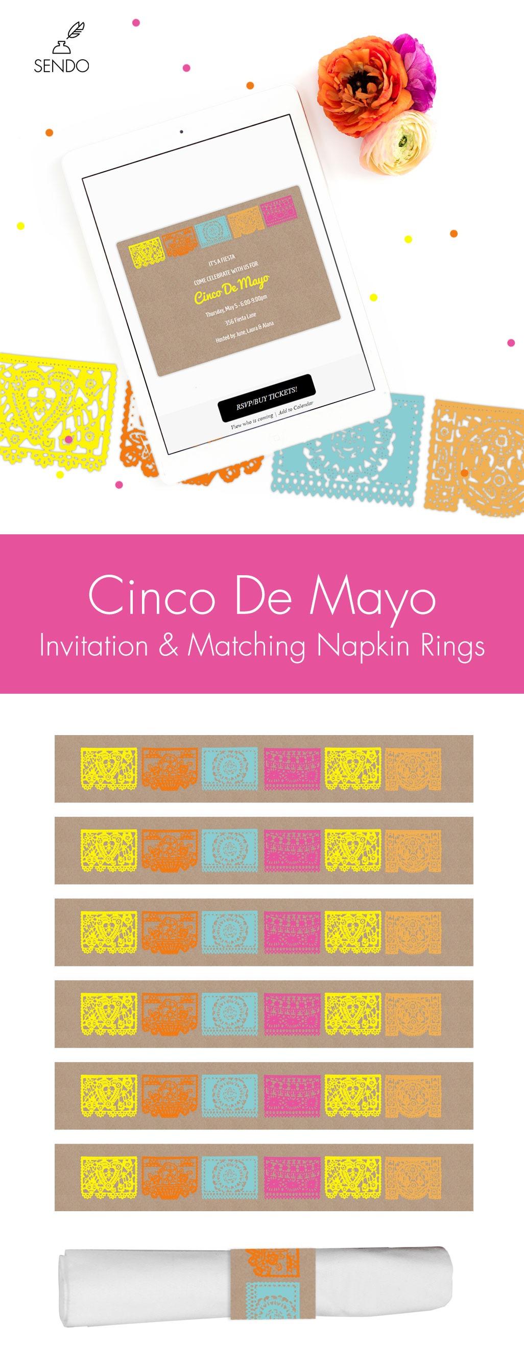 Cinco De Mayo Party Invitation & Napkin Ring Printable