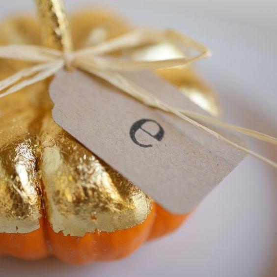 Gold Pumpkin Place Card