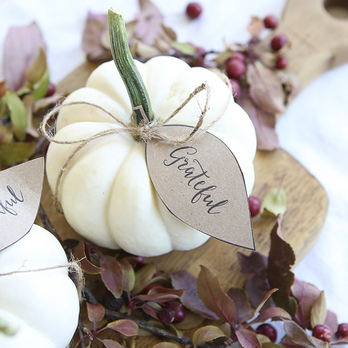 Pumpkin Leaf Thanksgiving Place Card