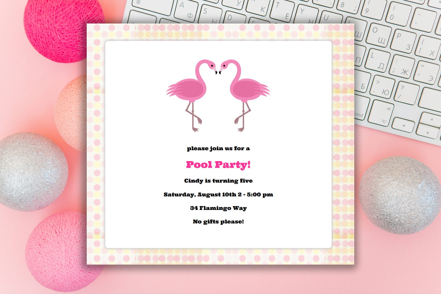 Planning a flamingo party? Use this evite - free for up to 10 guests!