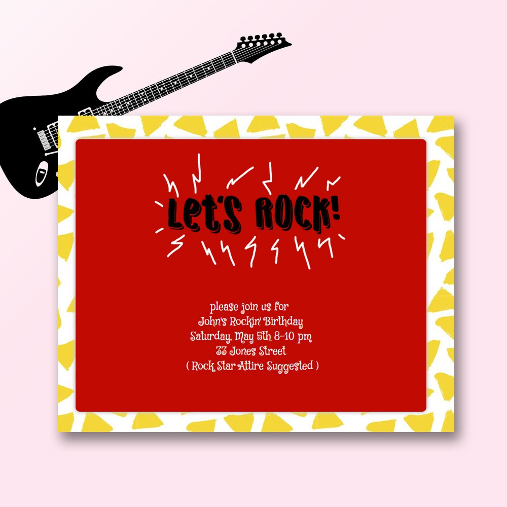 Rock Star, Rock and Roll and Pop Star Birthday Invitation #sendomatic #invitations #onlineinvitations #partythemes