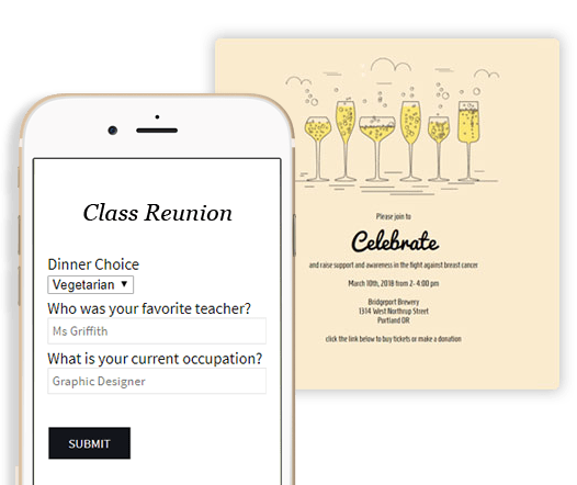 Poll your guests on your Class Reunion invitation. Ask guests dinner choices, etc. #invitations #polling #classreunion