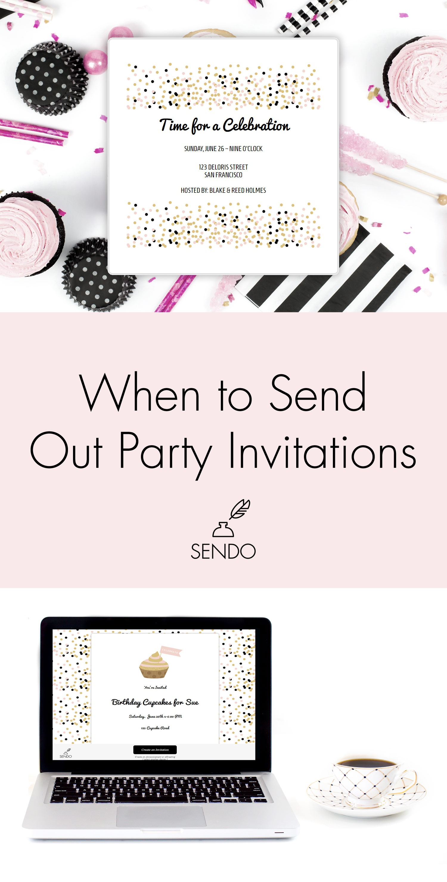 When to send out Party Invitations - when is the right timing? Read more here #partyinvitations #invitations #sendomatic #partyprofs #diy #eventplanning