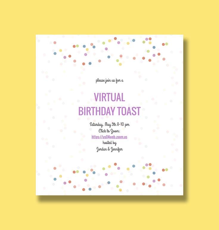 Virtual Birthday Toast Zoom Invitation from Sendo