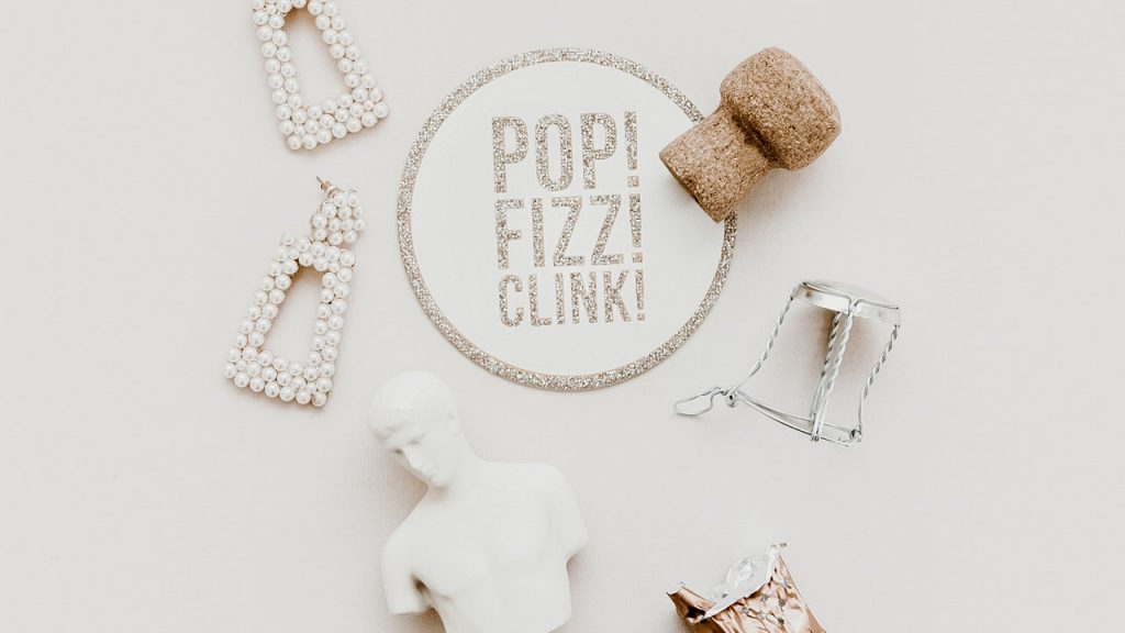 Pop Fizz Clink Champagne Zoom Background | Sendo Invitations