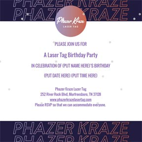 Laser Tag Invitation