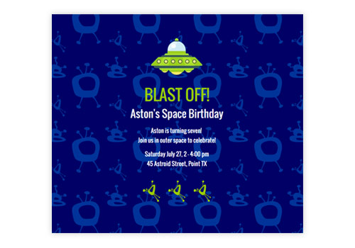 Fun Online Kids Birthday Party Invitations – Space Party Invitations